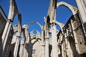 pic of carmelite  - famous Carmo Church ruins after the earthquake in 1755 in Lisbon Portugal - JPG