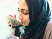 image of middle eastern culture  - Arabic Muslim Middle Eastern girl drinking clean water on the river spring - JPG