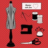 stock photo of sewing  - Do it yourself sewing and tailoring tools - JPG