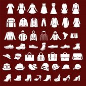 picture of jeans skirt  - Set icons of women fashion dresses and men clothing shoes and hats silhouette - JPG