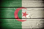 picture of algiers  - Flag of Algeria painted on old grungy wooden background - JPG