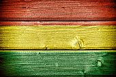 pic of bolivar  - Flag of Bolivia painted on old grungy wooden background - JPG