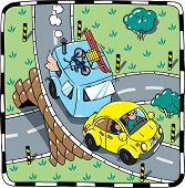 foto of beetle car  - Children vector illustration of small yellow car with trailer on the road - JPG