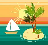 pic of cruise ship  - island in the ocean in the subtropics vector - JPG