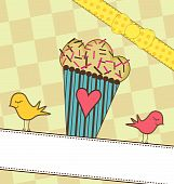 image of bakeshop  - A sweet illustration of a cupcake and birds - JPG