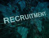 foto of recruitment  - Recruitment text concept on green digital world map background - JPG