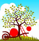 stock photo of hand-barrow  - vector apple tree with one big apple - JPG
