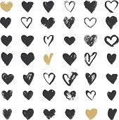 stock photo of weed  - Heart Icons Set - JPG