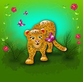 image of jungle flowers  - Cartoon leopard in jungle with butterflies and flowers - JPG