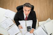 pic of receipt  - Mature Businessman Looking Up While Doing Paperwork - JPG