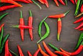 image of red hot chilli peppers  - Hot word made from red and green hot chili pepper - JPG
