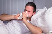 foto of blowing nose  - Man Infected With Cold And Flu Blowing His Nose In Tissue Paper - JPG
