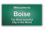 stock photo of boise  - Green city limits with friendly greetings from the american city Boise - JPG