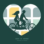 stock photo of tandem bicycle  - Vector abstract gray yellow rounded squares couple on tandem bicycle heart silhouette frame pattern greeting card template graphic design - JPG