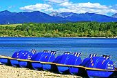 pic of pedal  - Pedal boats on the shore of reservoir Liptovska Mara - JPG