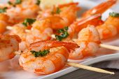 picture of shrimp  - Delicious grilled shrimp on wooden skewers on a plate macro - JPG