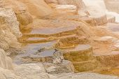stock photo of mammoth  - Limestone Terrace in the Upper Section at Mammoth Hots Springs in Yellowstone National Park - JPG