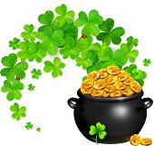 picture of pot gold  - Vector pot of magic gold with clovers swirl isolated on white - JPG