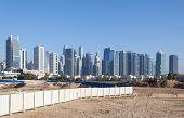 stock photo of dubai  - Jumeirah Lakes Towers and Dubai Marina skyline - JPG