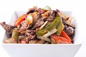 foto of flank steak  - home made beef stir fry with flank steak fresh vegetables and cilantro - JPG