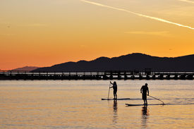 pic of stand up  - Standing up paddling in English Bay Vancouver - JPG