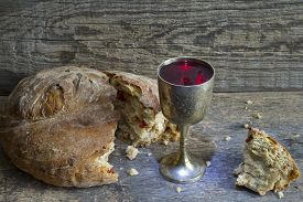 foto of holy  - Bread and wine holy communion sign symbol concept - JPG
