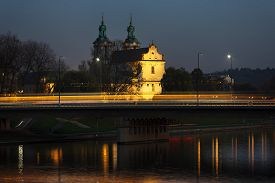 image of stanislaus church  - Bridge over Church of St Michael the Archangel and St Stanislaus in Krakow - JPG