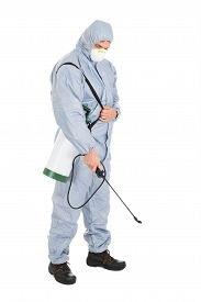 stock photo of pest control  - Pest Control Worker In Protective Workwear With Pesticides Sprayer Over White Background - JPG