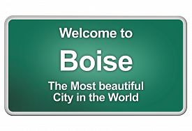 picture of boise  - Green city limits with friendly greetings from the american city Boise - JPG