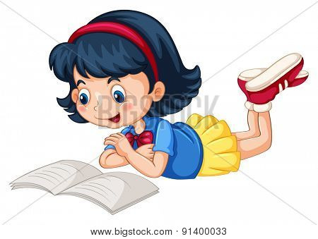Closeup happy girl reading book alone