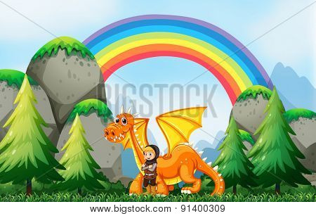 Knight and dragon in the field with rainbow background
