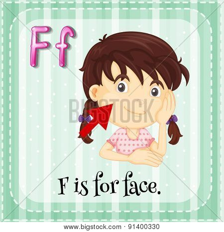 Flashcard letter F is for face