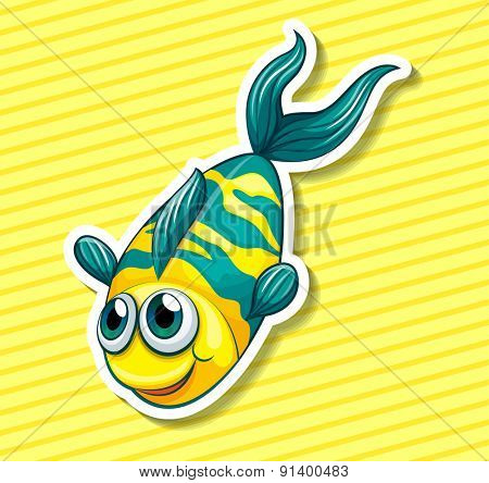 Closeup happy fish swiming on yellow background