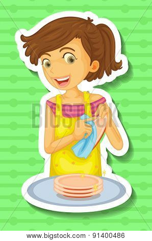 Woman doing dishes on green background