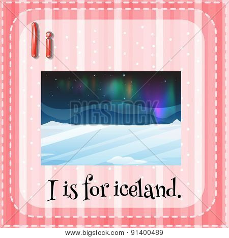 Flashcard letter I is for iceland