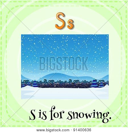 Flashcard letter S is for snowing