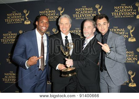 LOS ANGELES - APR 24: Lawrence Saint Victor, Jim Dray, Gordon Sweeney, Darin Brooks at The 42nd Daytime Creative Arts Emmy Awards Gala at the Universal Hilton Hotel on April 24, 2015 in Los Angeles,CA