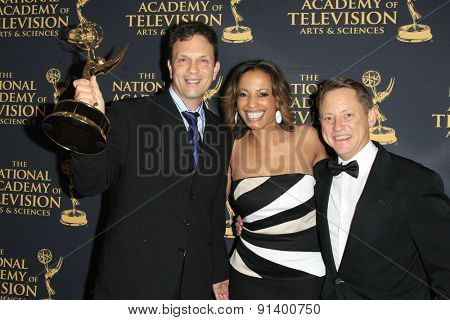 LOS ANGELES - APR 24: Dan Olexiewicz, Danielle Mullen, Tom Early at The 42nd Daytime Creative Arts Emmy Awards Gala at the Universal Hilton Hotel on April 24, 2015 in Los Angeles, California