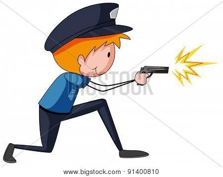 Closeup policeman in uniform shooting a gun