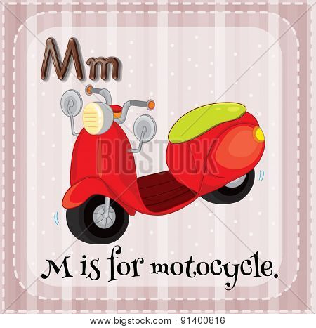 Flashcard letter M is for motorcycle