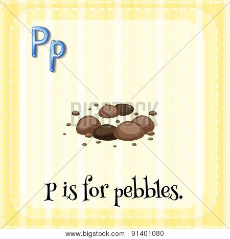 Flashcard letter P is for pebbles