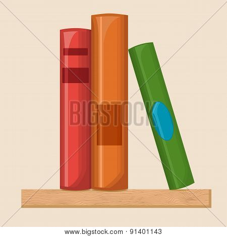 Book shelf flat illustration
