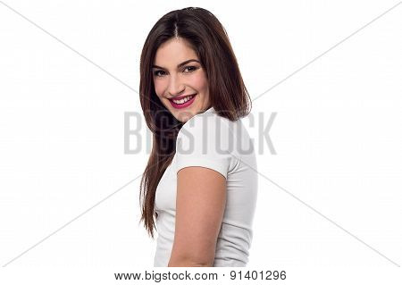 Cheerful Girl Posing In Casuals