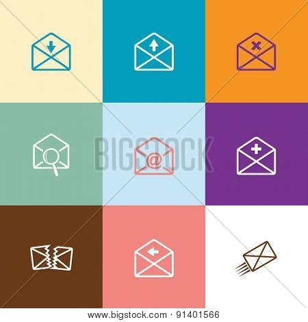 Mail set. Flat color vector icons.
