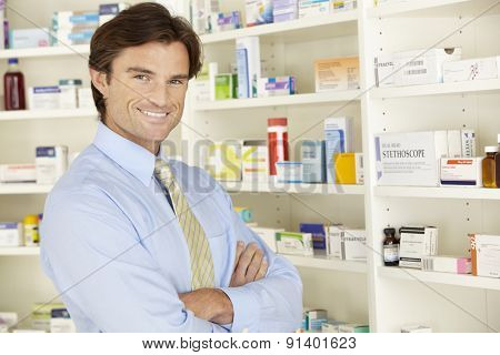 UK pharmacist working in pharmacy
