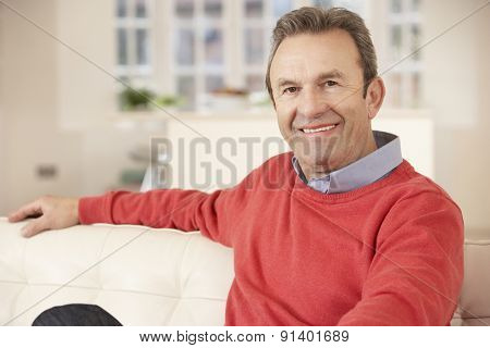 Portrait mature man relaxing at home