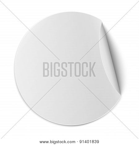 Vector Round Paper Sticker With Bent Edge Isolated On White Background
