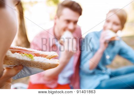 Young people eating sandwiches during picnic