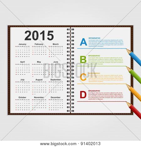 Infographics Design Template. Open Notebook With Calendar And Schedule. Vector Illustration.