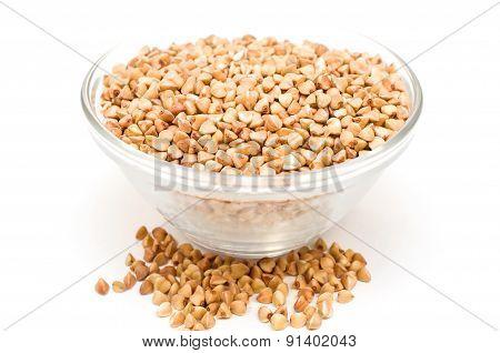 Buckwheat Groats On A White Background